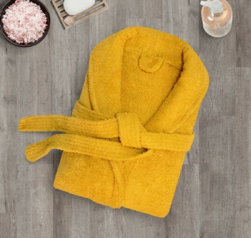 100% Cotton Terry Toweling Luxury Bath Robe Mens & Ladies Collar Shawl Dressing Gown Ochre